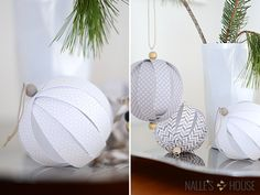 DIY: Paper Ball Ornaments christmas ornaments grey and white Paper Ornaments, Handmade Ornaments, Ball Ornaments, Diy Christmas Ornaments, Homemade Christmas, Holiday Crafts, Christmas Decorations, Christmas Paper, Christmas Tree