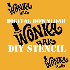 Wonka Bar Stencil for Boxes from Willy Wonka's Chocolate Factory SVG PDF Jpeg Images Digital downloa Wonka Chocolate Factory, Charlie Chocolate Factory, Wonka Wonka, Willy Wonka, Candy Bar Wrapper Template, Candy Bar Wrappers, Cricut Stencils, Stencil Diy, Ticket Printing