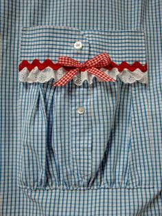 Upcycling Men's Shirt, Making a pocket from a cuff.  This is for an apron but would be cute on a girls dress too