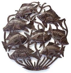 school of fish, haitian metal art, recylced wall art, joseph jean peterson, croix des bouquets , haiti, fair trade federation
