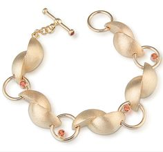 14kt Yellow Gold Bracelet with Orange Sapphires by Alexan Cerna: Gold and Stone Bracelet available at www.artfulhome.com