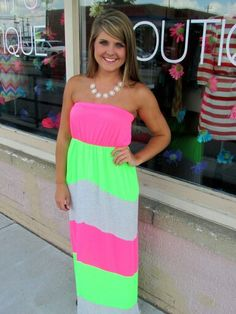 love this neon dress! Neon Dresses, Cute Dresses, Beautiful Dresses, Casual Dress Outfits, Cool Outfits, Fashion Outfits, Casual Shorts, Country Girl Dresses, Summer Outfits For Teens