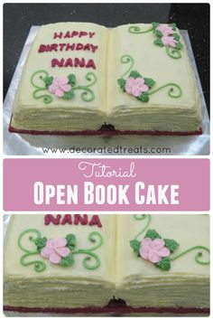 Open Book Cake TutorialYou can find Book cakes and more on our website. Birthday Book, Birthday Cakes, Birthday Ideas, Unicorn Birthday, Open Book Cakes, Cake Paris, Bible Cake, Single Layer Cakes, Retirement Cakes