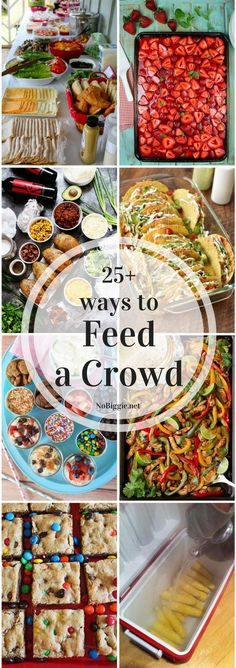 Feeding a crowd has never been easier. We've collected over 25 ways to feed a crowd to help you out with your next get together. Appetizers For A Crowd, Desserts For A Crowd, Party Appetizers, Seafood Appetizers, Cheese Appetizers, Holiday Appetizers, Holiday Foods, Holiday Desserts, Potluck Dishes