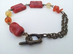 Red+natural+stone+bracelet+by+Bijouterie21+on+Etsy,+£10.00