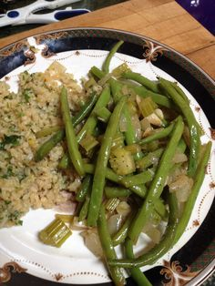 Savory Stir-fry, Green Beans and Brown Rice