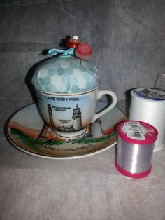 Pincushion in a vintage Cape Cod cup https://www.etsy.com/listing/167915063/pincushion-featuring-cape-cod-mass