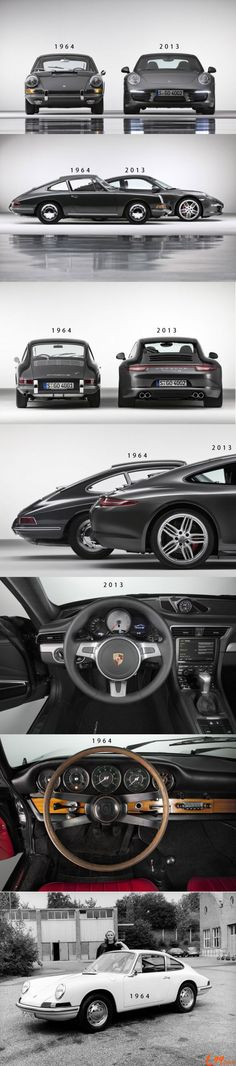 Porsche 911 - 1964 vs 2013. Now they are just GT cars no longer true sports cars . Too fat now and auto
