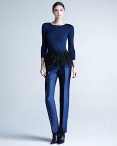 2012 Carolina Herrera Feather-Peplum Top & Mikado Cigarette Pants