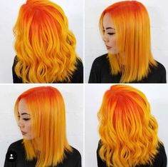 Orange and yellow hair cheveux oranges, dye my hair, pastel hair, fan Yellow Hair, Green Hair, Pink Hair, Orange Yellow, Red Hair Yellow Highlights, Orange Hair Dye, Pink And Orange Hair, Pastel Yellow, Orange Nails