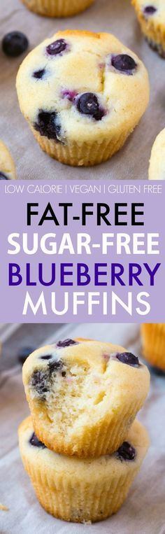 Fat Free Sugar Free Blueberry Muffins (V GF DF)- Moist and fluffy muffins which are tender on the outside- Made with ZERO fat and ZERO sugar they are completely guilt-free! Easy one bowl snack and healthy baked good! {vegan gluten free low calorie r Diabetic Desserts, Diabetic Recipes, Vegan Desserts, Diet Recipes, Vegetarian Recipes, Diabetic Muffins, Easy Recipes, Cold Desserts, Gluten Free Recipes