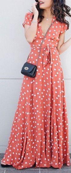 Beautiful maxi wrap dress in polka dot