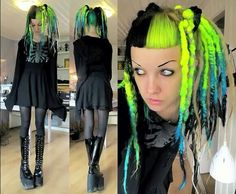 Psychara with neon dreads!! I would love to own these!