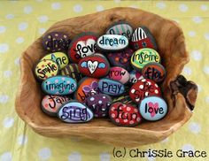 Painted rocks for teens and kids to hold, save and place in glass jars. Close your eyes and pick one with a message! Find the rocks at the beach.