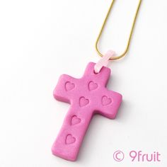 handmade pink cross necklace by 9fruit.