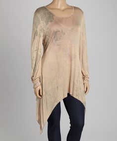 Look what I found on #zulily! Pink & Taupe Abstract Sidetail Tunic - Plus #zulilyfinds