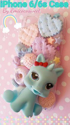 Kawaii Decoden Unicorn Pony by emicocosweet Iphone 6, Iphone Cases, Unicorn Phone Case, Decoden Phone Case, Pony, Pastel Goth, Kawaii, My Etsy Shop, Unique Jewelry