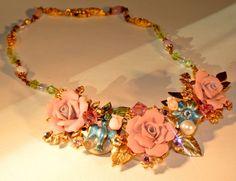 Pretty in Pink garden delite Bib style by HowlingDogJewelry, $125.00