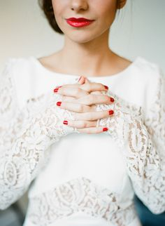 Glossy Red Lips & Nails: http://www.stylemepretty.com/2015/05/20/bold-bridal-lip-looks-we-love/