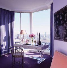Purple bedroom design by Jamie Drake #interiors #purple #nyc