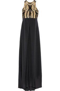 Diane von Furstenberg Darina metallic macramé and silk-crepe gown   NET-A-PORTER