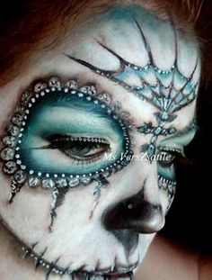 Fancy Blue and White Sugar Skull Makeup