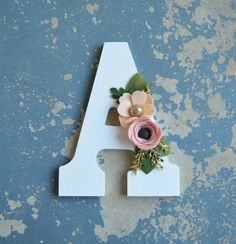 White Letter with Blush Pink Peach and Gold Felt Flowers, You Choose Letter, Home Decor, Wood Sign, Initial, Nursery Decor, Baby Shower Gift