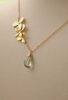 Green Amethyst - Prasiolite Orchid Flowers Gold Necklace