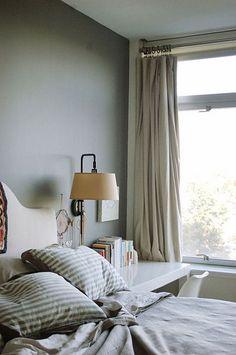 Jennifer Sarkilahti / Odette / Design*Sponge {gray, white and beige eclectic vintage modern bedroom} by recent settlers, via