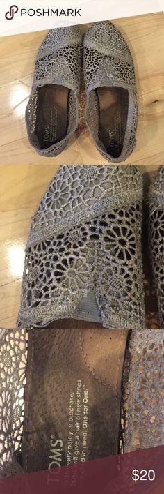 Toms silver lace shoes Toms silver floral lace shoes. Some wear. Toms Shoes Espadrilles
