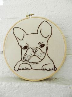 French Bulldog Embroidered Wall Art.  7 inch Embroidery Hoop Art.  Hand Drawn.  Hand Embroidered.  Pet Art.  French Bull Dog Puppy