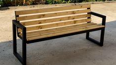 Welded Furniture, Lawn Furniture, Steel Furniture, Furniture Legs, Pallet Furniture, Outdoor Furniture, Metal Outdoor Bench, Outdoor Benches, Modern Bench
