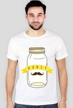"Słoik ""Honey"" - t-shirt - jar and moustache"