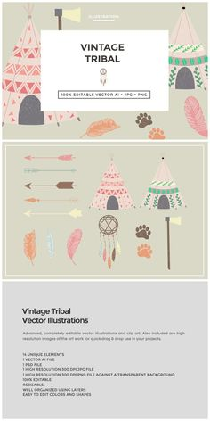 Vintage Tribal Clip Art Vectors by The Design Label on @creativemarket