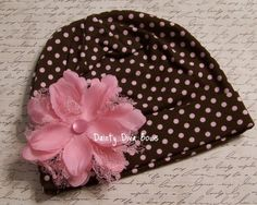 Brown and Pink Polka Dot Beanie Hat.. hope i have a girl