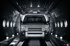 Land Rover Discovery inside cargo plane