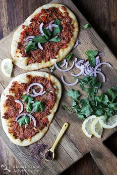 Lahmacun... a Turkish Flatbread Pizza with Spiced Lamb. I always get these from the doner stand, yay!!