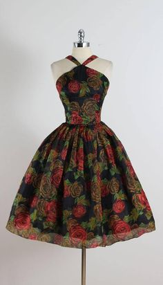 Vintage 1950s Rose Print Halter Dress