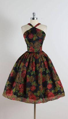 Vintage 1950s Rose Print Halter Dress