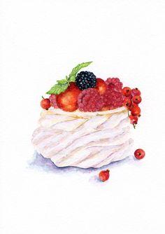 Summer Dessert Pavlova with Berries. Cake Sketch, Desserts Drawing, Pavlova Cake, Dessert Illustration, Sweet Drawings, Chibi Food, Watercolor Food, Pastry Art, Bakery Cafe