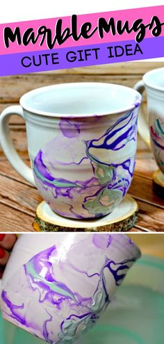 Marble Mugs - Cute Gift Idea These Marble Mugs are the perfect Christmas gift ideas for someone who loves coffee! It's super simple, but the effect y. Christmas Crafts For Adults, Arts And Crafts For Adults, Easy Arts And Crafts, Adult Crafts, Christmas Mugs, Fun Crafts For Kids, Perfect Christmas Gifts, Cute Crafts, Creative Crafts