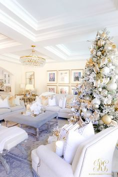 elegant white gold holiday living room - - Oh Holy Night Christmas Home Tour - tons of Christmas decorating ideas to help you get ready for the most wonderful time of the year! Luxury Christmas Decor, Rose Gold Christmas Decorations, Elegant Christmas Trees, Classy Christmas, Christmas Interiors, Christmas Living Rooms, Christmas Room, Farmhouse Christmas Decor, White Christmas