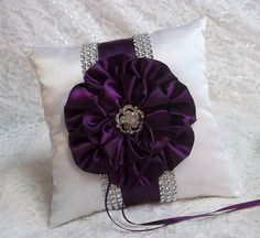 White Ring Bearer Pillow embellished with an Plum Purple and Rhinestone Mesh Trim, Wedding Pillows on Etsy, $55.00