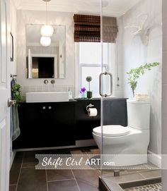 I love this layout for a standard tract house bathroom. Powder room turned full bath part III - the reveal
