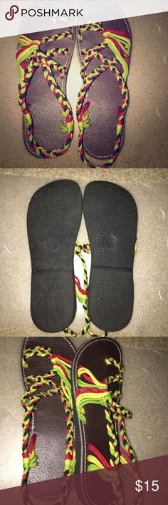 Rasta Sandals! Super cute sandles! Hard to find, worn 1 time. Size is marked S. Compared to a USA size 6.5-7 free way Shoes Sandals