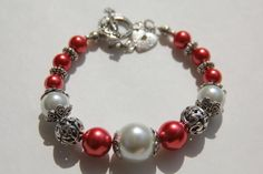 Light Red White and Pewter Toggle Bracelet by IrishExpressions, $20.00