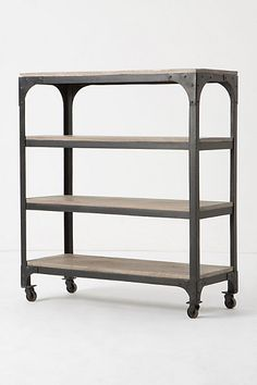 Inspiration for making a look-a-like Anthropologie Decker Bookcase (the real deal is $498.00....) Shown In: silver