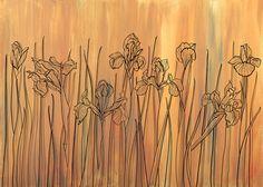 wallpaper IRIS FIELD - SUNRISE Iris, Sunrise, Wallpaper, Painting, Home Decor, Decoration Home, Room Decor, Wallpapers, Painting Art