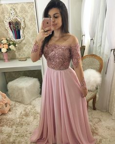 Off Shoulder Full Sleeves Long Prom Dress 2019 Custom Made Beaded Pink Evening Party Dress Fashion Appliques School Dance Dress Pageant Dress for Girls Fancy Prom Dresses, Girls Pageant Dresses, Prom Dresses Long With Sleeves, Party Wear Dresses, Elegant Dresses, Formal Dresses, Split Prom Dresses, Indian Gowns Dresses, African Fashion Dresses