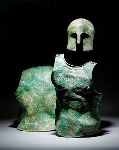 Corinthian helmet and bronze cuirass.